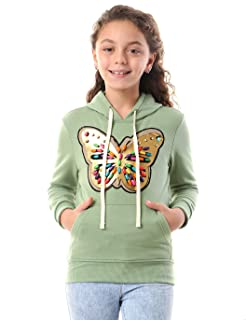 Andora Printed Long Sleeves Ribbed Trim Hooded Sweatshirt for Girls - Green, 14 Years