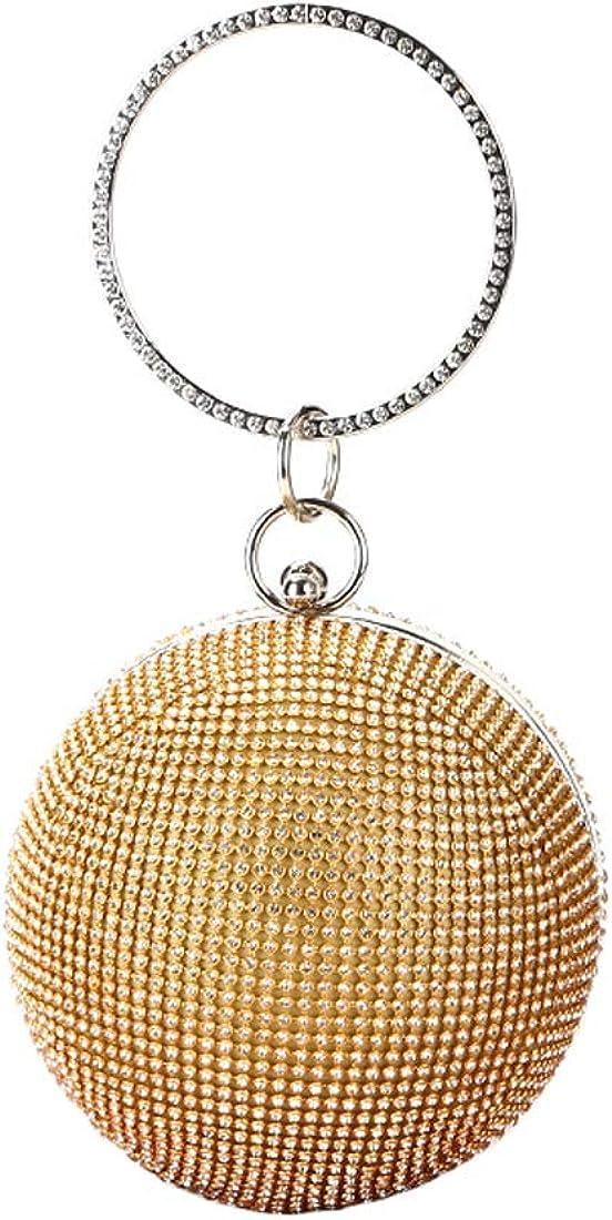 Flada Women Ball Shaped Crystal Handbag Clutch Purse Small Evening Bag
