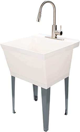 JS Jackson Supplies White Utility Sink Laundry Tub with High Arc Stainless Steel Kitchen Faucet, Pull Down Sprayer Sp...
