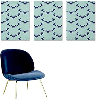 Deer Custom Oil Painting Jungle Creature Heads with Antlers Abstract Animal Motifs Hipster Wildlife Oil Canvas Painting Wall Art 3 Panels 16x31inch Pale Seafoam Navy Blue