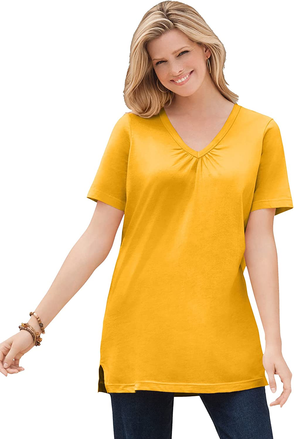 Woman Within Women's Plus Size Perfect Short-Sleeve Shirred V-Neck Tunic