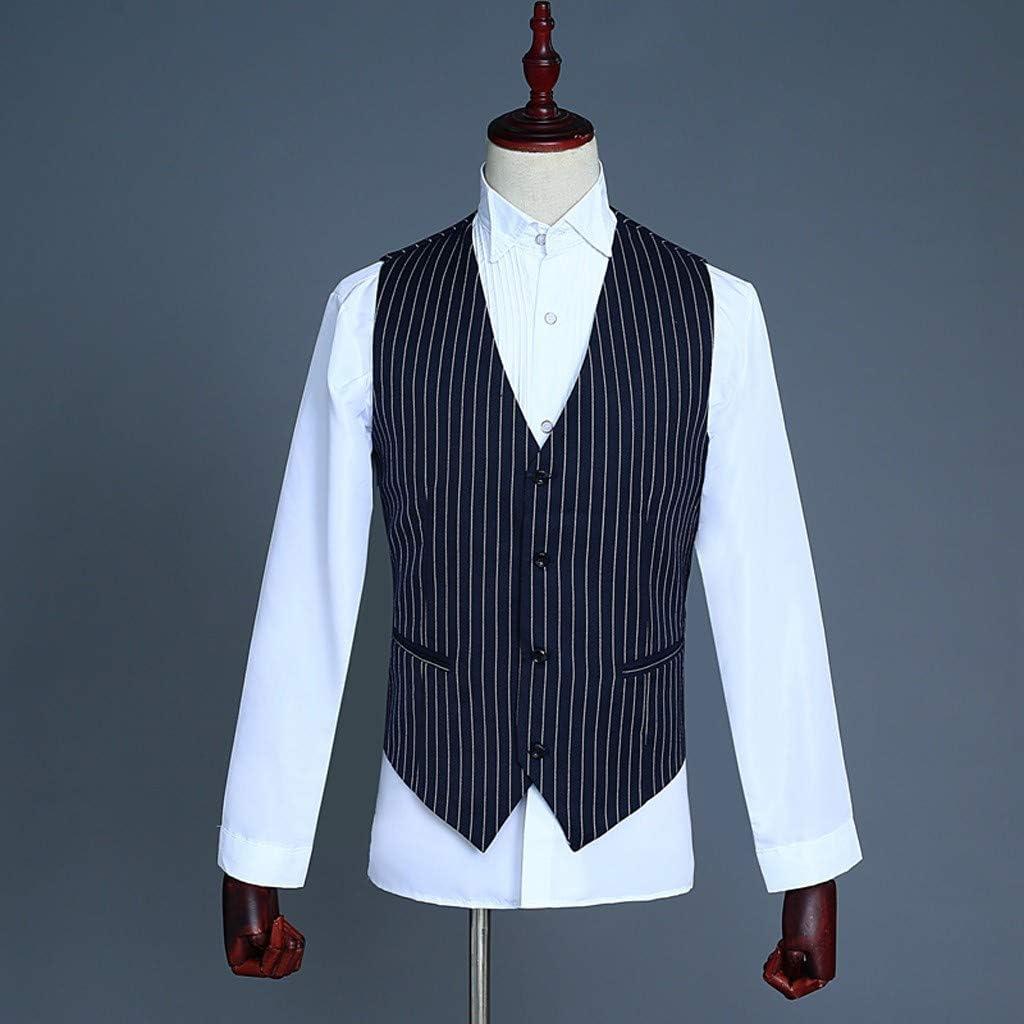 MODOQO Men's 3 Piece Slim Fit Stripe Suit Stylish Retro Business Wedding Suit Prom Tuxedo