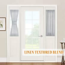 RYB HOME Sheer Curtains for Sidelight Windows - Decorating Privacy Voile for Balcony Doors Farmhouse Cabin Patio Door Blinds, 2 Ropes, 2 Panels, 30 inches Width x 40 inches Length, Dove Grey