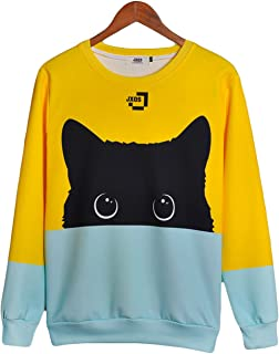 Color Block Cute Cat Pattarn Long Sleeve Round Neck Pullover Sweatshirt