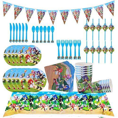 Sonic Reutilizable Party Supplies Juego de decoración 82 Piezas Suministros de Fiesta Sonic Party Vajilla Paquetes Incluye Flatwares, Tazas, manteles, servilletas, pancartas para 10 niños