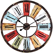 Wall Clock, Iron Art Color Clock American Retro Industrial Style Bar Cafe Decoration Hanging Watch