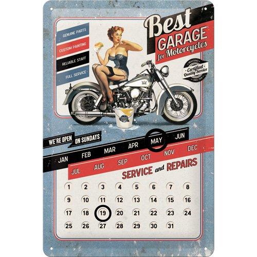 Nostalgic-Art 22204 Biker's Corner Best Garage Blue Kalender Blechschild, 20 x 30 cm