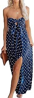 Womens Polka Dot Strapless Maxi Dress Tie Knot Bandeau Split Summer Beach Party Long Tube Dresses