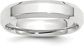 14k White Gold 5mm Bevel Edge Comfort Fit Wedding Ring Band Size 10.5 Classic Beveled Fine Jewelry For Women