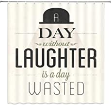 XZMAN Text Decoration Quote Shower Curtain,Day Without Laughter is a Day Wasted,Polyester Waterproof Bathroom Decor Set with Hooks,Black Beige
