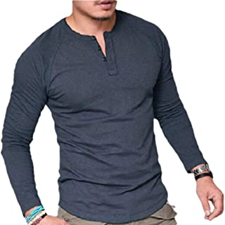 Mens Tops Casual Loose Henley T-Shirts Long Sleeve Relaxed Fit Blouses