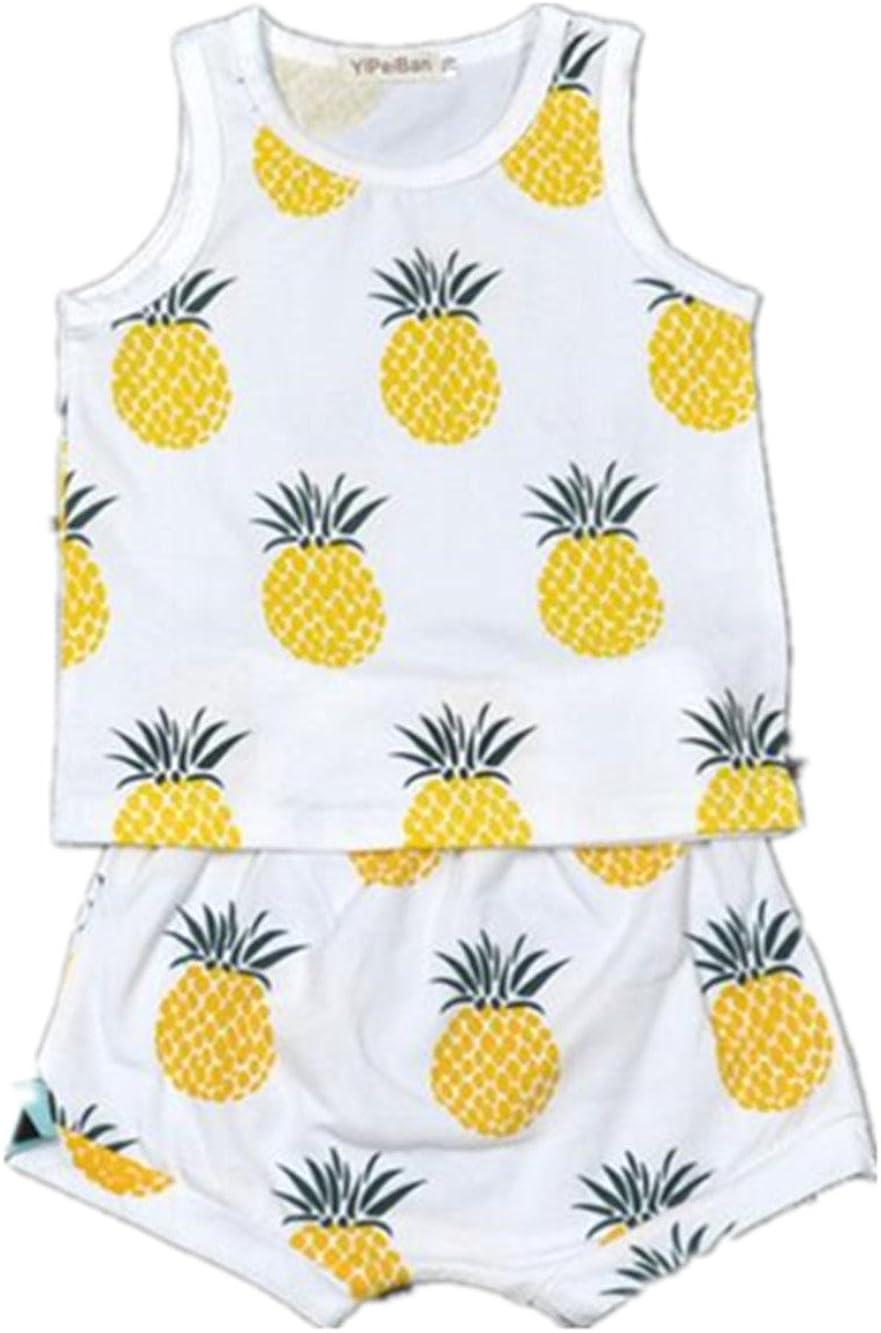 AYIYO Summer Baby Fruit Printed Cotton Tank Tops Tee Shirts + Shorts Harem Pants Set