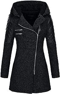 Aniywn Women's Patchwork Jacket Winter Casual Zipper Long Sleeve Parka Hooded Overcoat Tops Coat