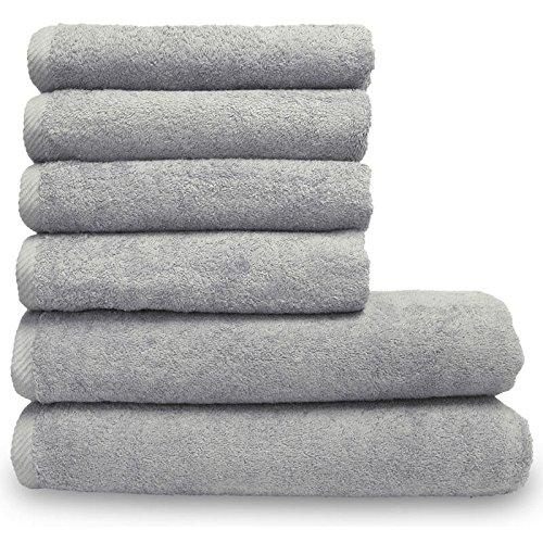 Lanudo Pure Line Handtuch-Set 6 teilig, 2 Duschtücher 70 x 140 cm & 4 Handtücher 50 x 100 cm, Silber