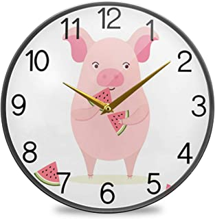 Chovy 掛け時計 サイレント 連続秒針 壁掛け時計 インテリア 置き時計 北欧 おしゃれ かわいい 豚 すいか 可愛い かわいい 動物柄 部屋装飾 子供部屋 プレゼント