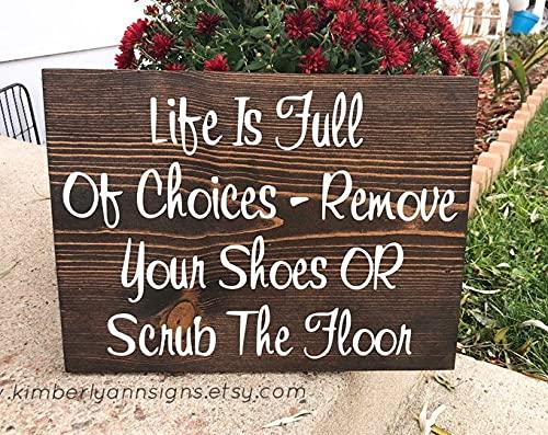by Unbranded Señal de entrada al aire libre para quitar tus zapatos o fregar el suelo Señal de puerta delantera No shoes in house Sign colgante exterior quitar zapatos
