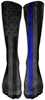 Jesse Tobias Police Blue Line Flag Calcetines hasta la rodilla Medias largas de tubo atlético para hombres Mujeres All Sport Holiday Talla única