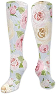 Calcetín de compresión para mujeres y hombres, calcetines con estampado de rosas florales ocasionales hasta la rodilla - 50cm