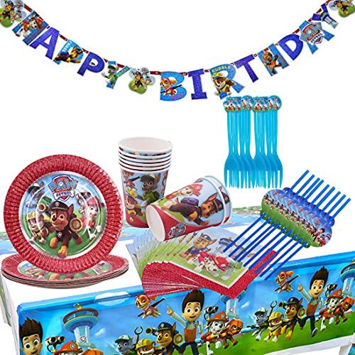 Cumpleaños Paw Patrol Kit de Vajilla Desechable de Decoración para Fiesta Paw Patrol Accesorios 8 Invitados