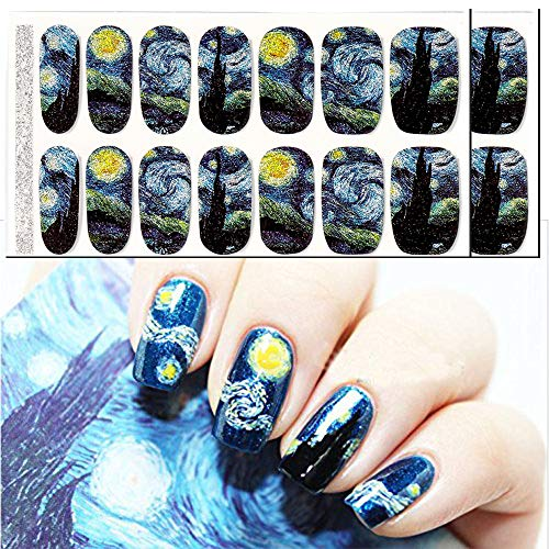 Van Gogh's Starry Night Fullnail Stickers, Full Nail Starry Sky Art Stickers 14 Decals/Sheet, Shimmery Glittery Nail Sticker (Pack of 2 Sheets and 1 Mini Grater)