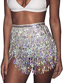 Zoestar Sequin Belly Dance Skirt Tassel Hip Scarf Multiplayer Dance Belt Costume Performance Party Skirt Wrap for Women an...