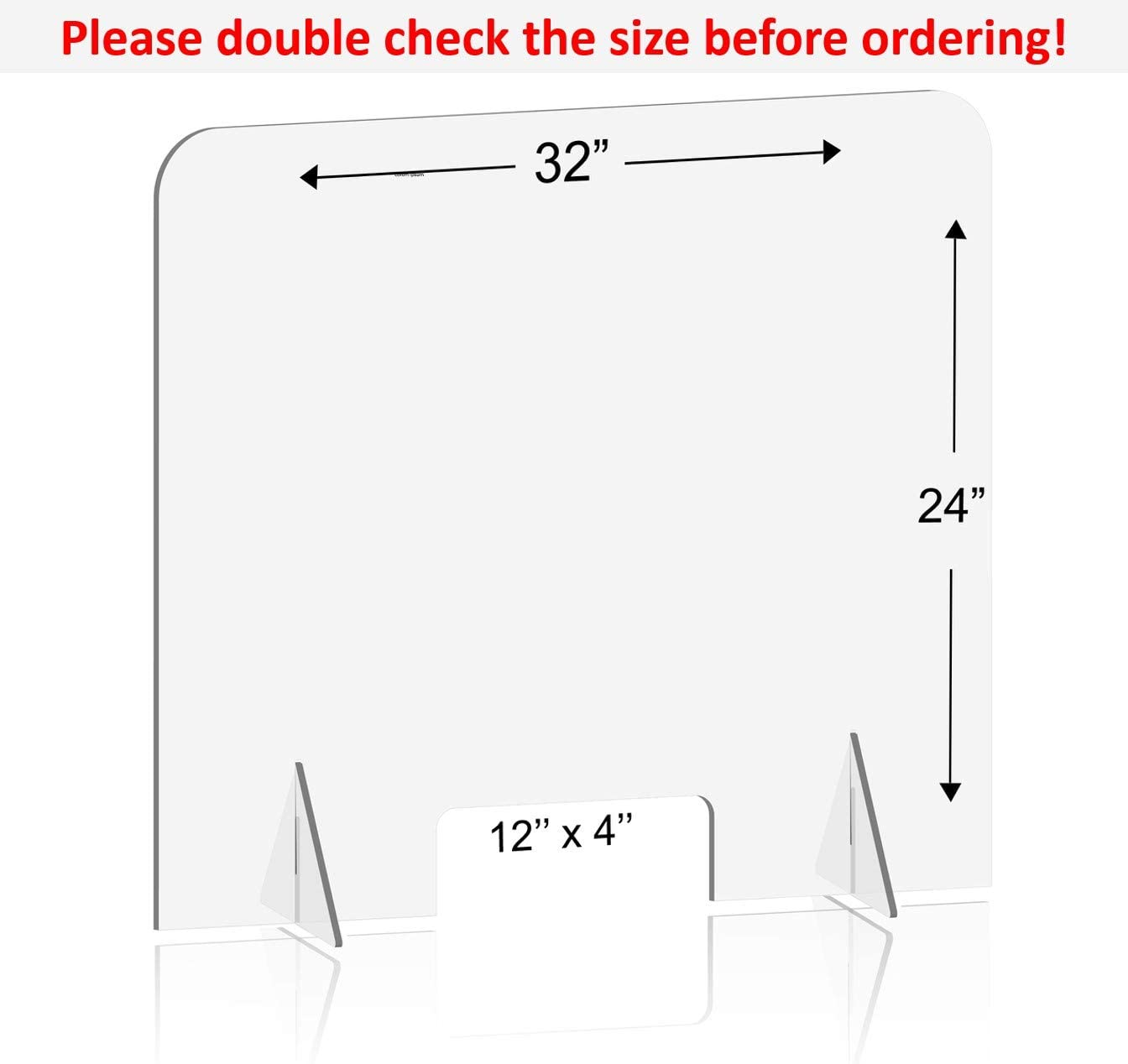Clear Acrylic Shield 24 W x 24 H Same-Day Shipping Counter and Table Portable Plexiglass Barrier VARWANEO Sneeze Guard Panel for Desk