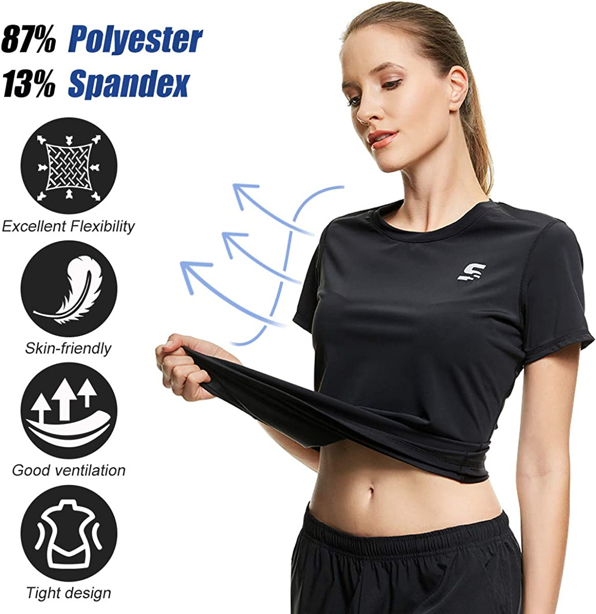 Workout Shirts for Women Running Sports Athletic T-Shirt Workout Tops Womens Compression Shirts Short Sleeve