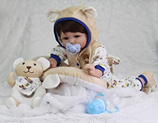 Tandi Realistic Reborn Baby Doll 22in Handmade Soft Silcone Lifelike 7-Piece Gift Set Baby Birthday&Xmas Gift