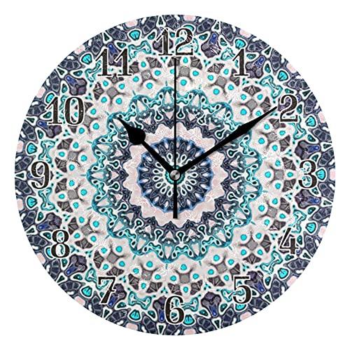 KKAYHA - Reloj de pared con mandala, diseño étnico de 25 cm, funciona con pilas, silencioso, no hace tictac, decorativo para dormitorio, hogar, sala de estar, puntero negro