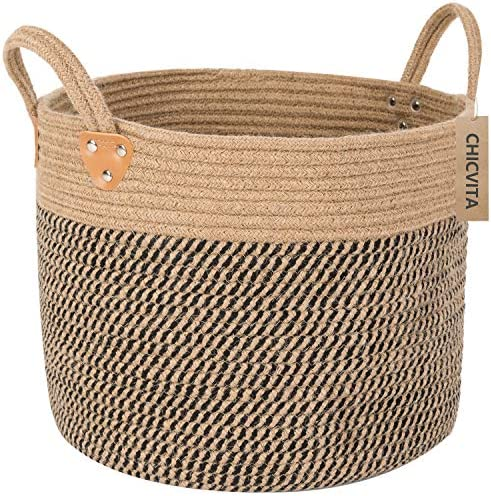 "CHICVITA Large Jute Basket Woven Storage Basket with Handles – Natural Jute Laundry Basket Toy Towels Blanket Basket Home Decor, 14"" x 14"" x 12"""