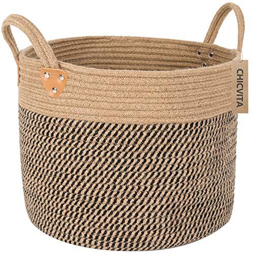 "CHICVITA Large Jute Basket Woven Storage Basket with Handles – Natural Jute Laundry Basket Toy Towels Blanket Basket Home Decor, 14"" x 14"" x 12"""