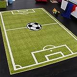 Paco Home Alfombra Infantil - Diseño Campo De Fútbol - Verde, tamaño:120x170 cm