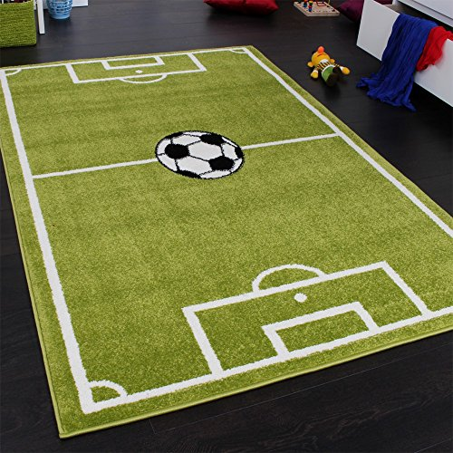 Tappeto per Ragazzi Campo da Calcio Sportivo da Gioco con Pallone Verde Bianco, Dimensione:120x170 cm