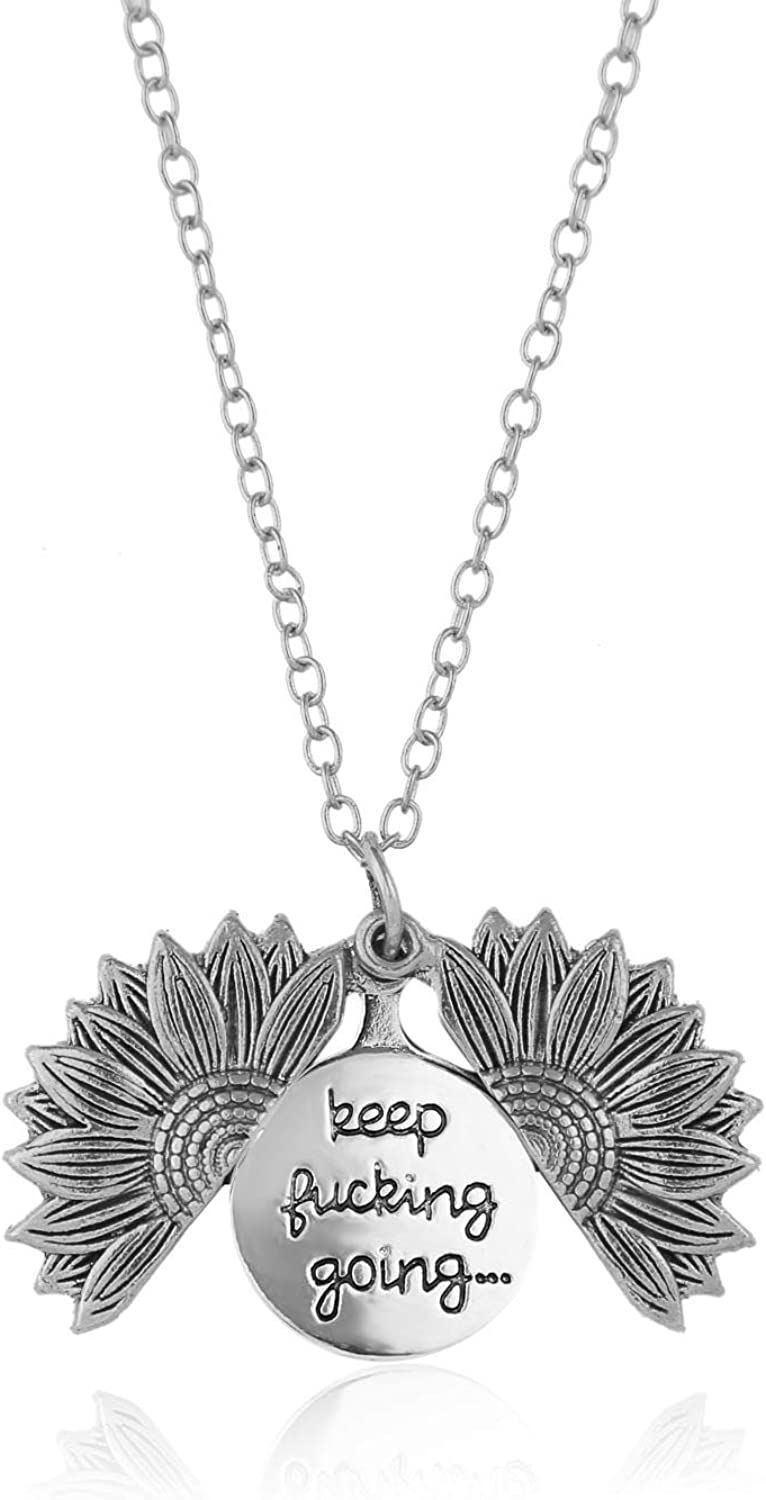 ASclothes Sunflower Jewelry Necklace Keep Fucking Going Engraved Necklace Birthday Christmas Halloween Gifts