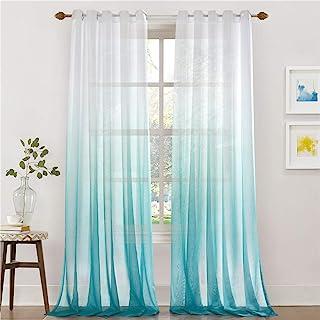 Lindong - Cortina de gasa transparente con ojales, color degradado, para dormitorio o salón, 1 unidad, tela, azul, 140x245 (BxH), Stück x1