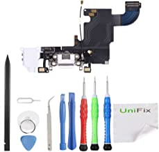 Unifix Charging Port Dock Connector with Charger Port, Headphone Jack and Mic Replacement Part for iPhone 6S (White) + Repair Toolkit