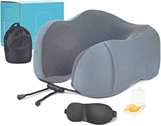 LOGUIDE Travel Pillow 100% Pure Memory Foam Neck Pillow, Comfortable & Breathable Cover - Machine Washable, Airplane Travel Kit with Sleep Mask, Earplugs, and Luxury Bag, Grey (Grey)