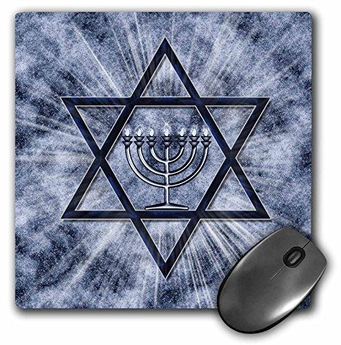 3dRose Hanukkah Menorah with Star of David in Blue Mouse Pad (mp_52283_1)