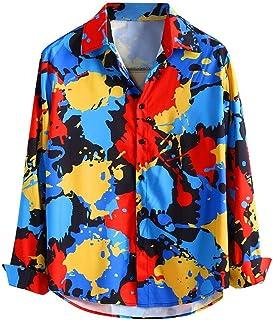 Camisa Casual para Hombre, Ocio Suelto Camisa de Manga Larga Colorida de Solapa para Hombre Slim fit Blusa Hawaii Shirt có...