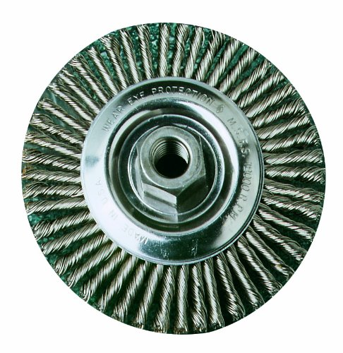 """United Abrasives- SAIT 06445 4"""" x .020 x 5/8-11 Arbor Stainless Bristle Stringer Bead Knot & Crimped Style Angle Grinder Wire Wheel"""