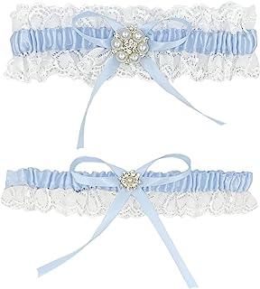 Liga de Novia - Jarretera Cinturón Eelástica para Boda - Accesorio para Novias con Detalles Azules
