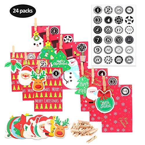 EKKONG Adventskalender 24 Kraftpapiertüten mit 24 weihnachtlichen Aufklebern, Adventskalender zum Befüllen, 24 Miniklammern und Weihnachten Hangtags, Geschenkbeutel Weihnachtskalender tüten