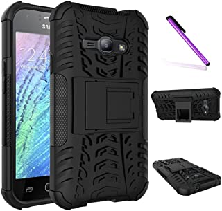 Galaxy J1 Ace Case, LEECOCO Heavy Duty Tough Armor Box Dual Layer Hybrid Hard PC and Soft TPU Shockproof Protective Defender Case for Samsung Galaxy J1 Ace (J110M) 2015 Heavy Black