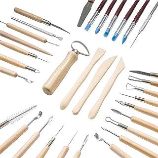 4YANG Outil de Poterie, 45 PCS Artiste de Céramique Kit de Sculpture pour l'artisanat d'art en terre cuite, poterie, céram...