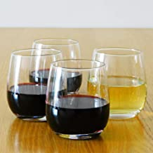 12 Ounce Stemless Wine Glasses/Whiskey Glasses/Beverage Glasses, Set of 4 Great for Drinking Wine, Whiskey or Juice, Versatile Glass Cups/Glassware Sets/Glass Tumblers
