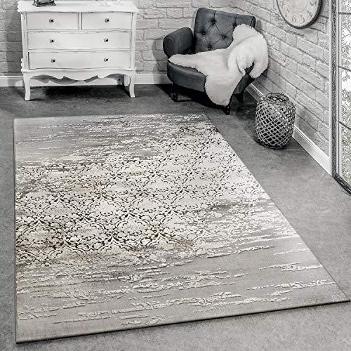 Paco Home Tapis De Créateur pour Salon avec Décorations Modernes Motif Chiné Gris Beige, Dimension:80x150 cm