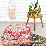 Mandala Life ART Bohemian Yoga Decor Floor Cushion Cover - 24x8 inches - Square Meditation Carpet Pillow Case - Printed Cotton Rug Pouf