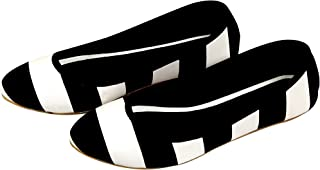 Planet Wear Comfortable and Stylish Women Ballerina Black with White Stripes Bellies 37 Euro Size