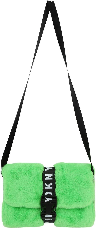 DKNY KIDS Tasche aus Kunstpelz hellgrün mit Logo Clipverschluß 25 x 18 x 5 cm