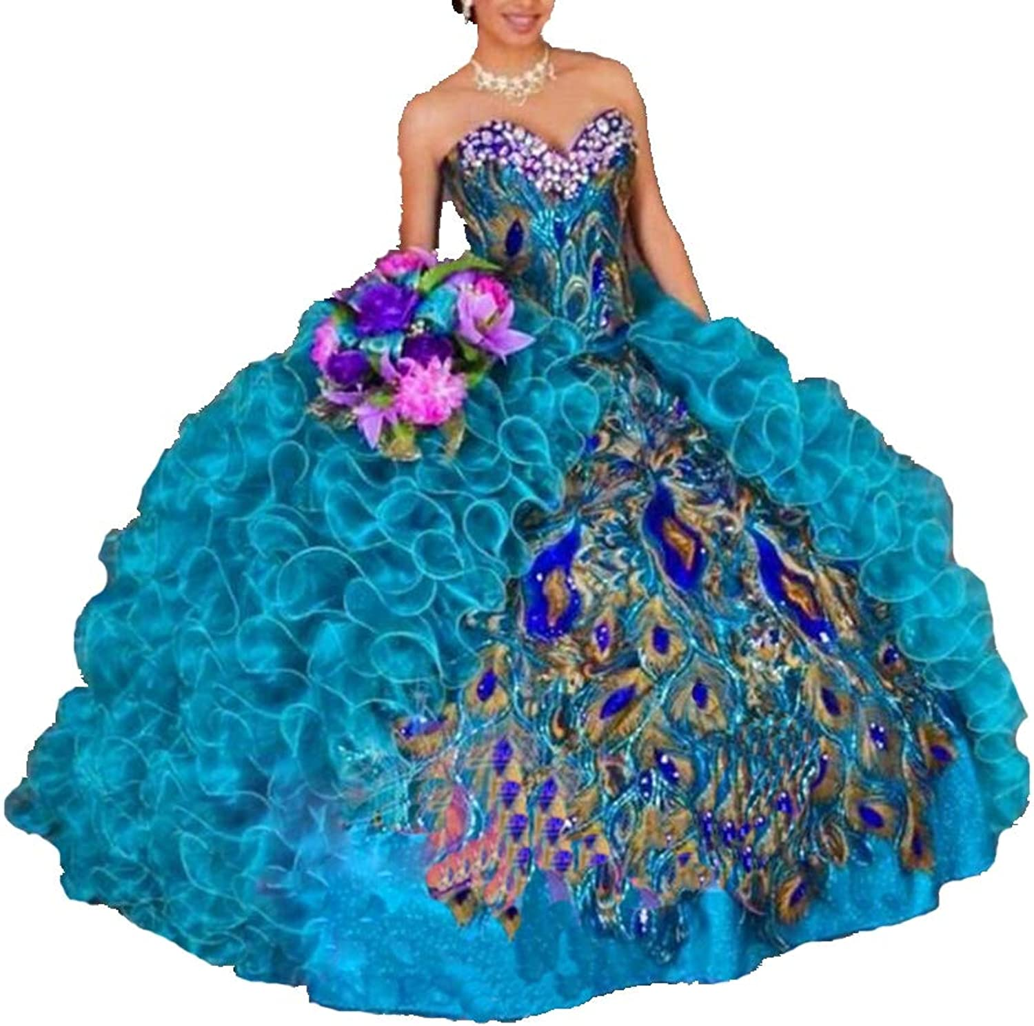 ANGELA Women's Peacock Embroidery Ball Gown Organza Quinceanera Dress